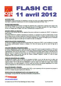 Télécharger le flash ce du 11 avril 2012